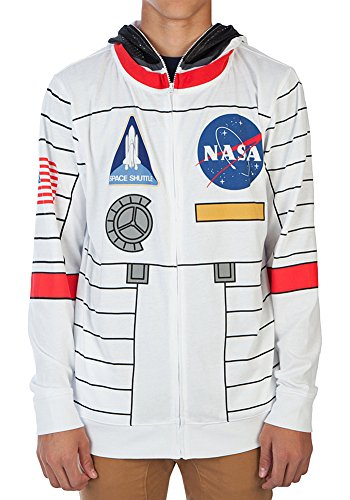 Nasa Costumes Adults (NASA Buzz Aldrin Mens Costume Hoodie (Medium))