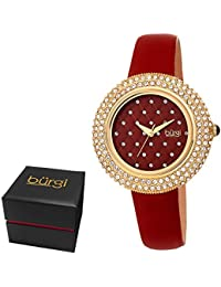 Women's BUR207BUR Swarovski Crystal Encrusted Quilted Dial Yellow Gold & Imperial Red Satin Leather Strap Watch
