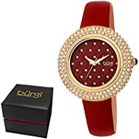 Burgi Women's BUR207BUR Swarovski Crystal Encrusted Quilted Dial Yellow Gold & Imperial Red Satin Leather Strap Watch