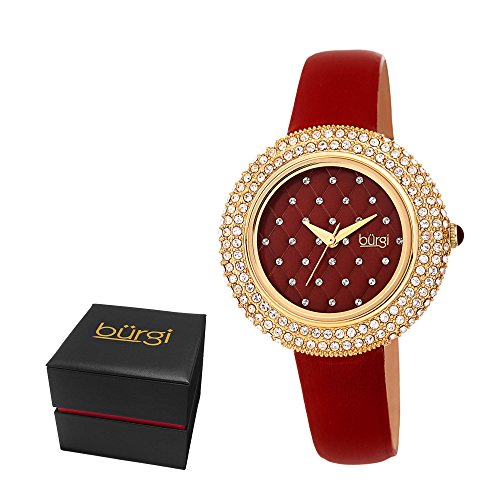 Crystal Red Strap Watch (Burgi Women's BUR207BUR Swarovski Crystal Encrusted Quilted Dial Yellow Gold & Imperial Red Satin Leather Strap Watch)