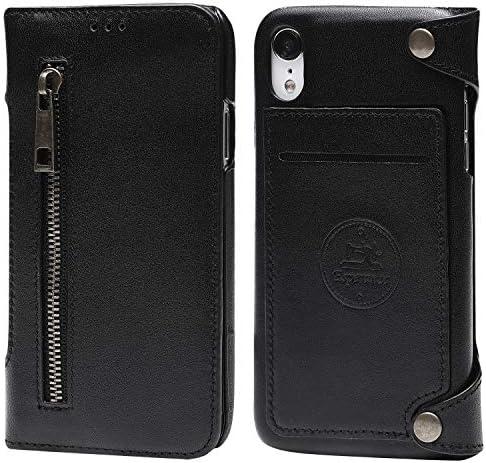 Esperanza 最高級 本革 iPhoneXR スマホ ケース 取り外し 可能 財布としても使える 手帳型 マグネット式 (iPhone XR, コールブラック)