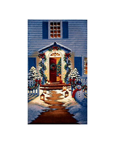 Good Tidings Holiday Homecoming 24 In. Panel Blue Fabric By The Yard