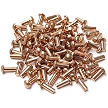 5//32 X 5//16 Round Head Brass Rivets; 100 PCS Box