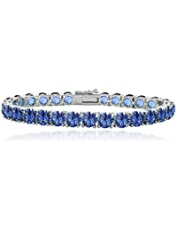Silver Flashed Tennis Bracelet Made with Swarovski Crystals, 7.2 Inches (all colors)