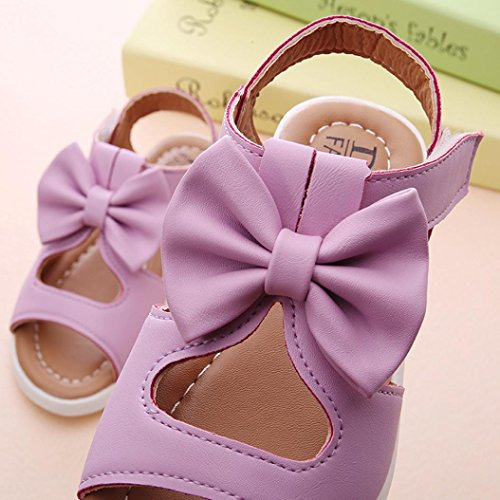 bobo4818 Trekkingsandalen für Kinder Mode Kinder Mädchen Sandalen Bowknot Flache Prinzessin Schuhe Lila