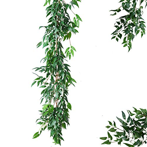 BELIESAFE Artificial Greenery Garland Faux Silk Willow Leaves Vines Wreath Wedding Backdrop Wall Decor Flower Arrangement(Willow Leaves -