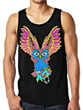 SFYNX 'Plur Owl' Men's Rave Tank Top - Glow in The Dark EDM Clothing - Black Light Reactive Tank (Small)