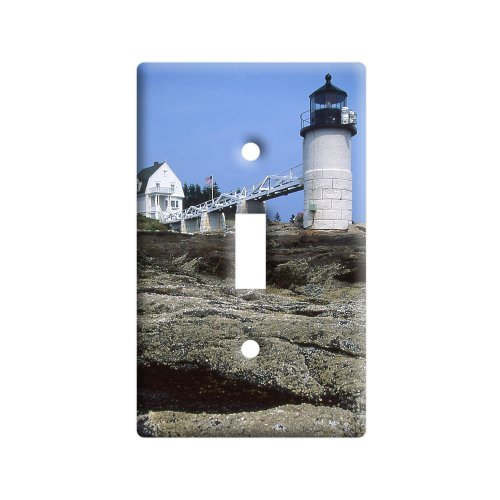 (Maine Lighthouse - Marshall Point - Plastic Wall Decor Toggle Light Switch Plate Cover)