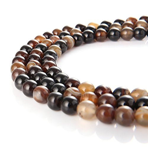 New Brown Stripe (wanjin Natural Brown Stripe Agate Gemstone Round Loose Beads For Jewelry Making Findings /Accessories 1 Strand 15.5 inches -8mm)