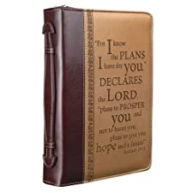 """""""I Know the Plans"""" Two-tone Bible / Book Cover - Jeremiah 29:11 (Large)"""