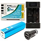 Olympus E-30 Battery with Universal Charger, 3000mAh Portable External Battery Charger and Dual USB Car Plug - Replacement Olympus BLM5 Digital Camera Battery and Charger