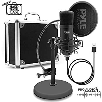 usb microphone podcast recording kit audio cardioid condenser mic w stand. Black Bedroom Furniture Sets. Home Design Ideas