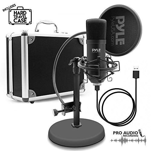 (USB Microphone Podcast Recording Kit - Audio Cardioid Condenser Mic w/ Stand, Gooseneck Pop Filter, For Gaming Desktop, Streaming, Podcasting, Studio, Youtube, Works w/ Windows Mac PC - Pyle PDMIKT100)
