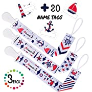 Pacifier Clip for Boys, Pack of 3 by Milanti + 20 Name Tags Labels, Premium Quality Fun Designs Universal Holder Leash for Pacifiers, Teething Toy or Soothie, Baby Shower Gift Set