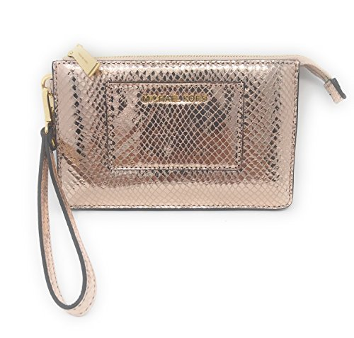 Michael Kors Small Gusset Pocket Silver Leather Zip Top Wristlet - Soft Pink