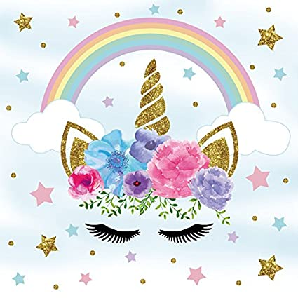 7d93885c80 Laeacco Cute Unicorn Background 5x5ft Vinyl Photography Background Unicorn  Head with Flowers Gold Stars Eyelashes Cloud