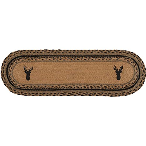"VHC Brands Classic Country Rustic & Lodge Tabletop & Kitchen - Trophy Mount Tan Jute Runner, 13"" x 48"", Green"
