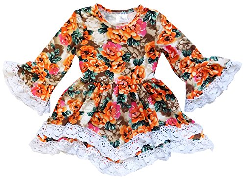So Sydney Toddler Girls Boho Ruffle Crochet Lace Trim Flare Sleeve Dress (Vintage Fall Floral, XL (6))