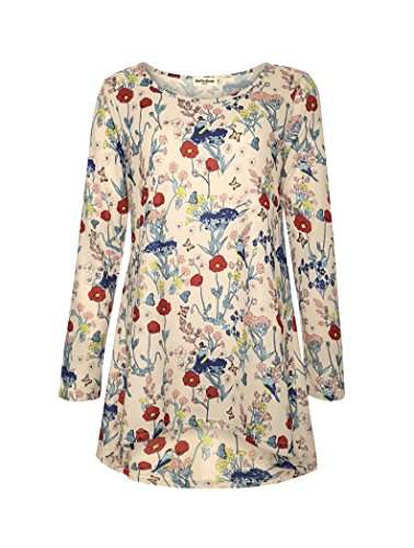 Floral Print Jersey Top - LaVieLente Ultra Soft Long Sleeve Jersey Knit top with hi-Low Design and Oversized fit Available in Bird and Dinosaur Print (Floral, X-Small/Small)