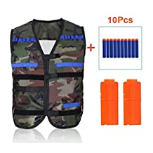 Yosoo Kids Elite Tactical Vest + 10pcs Soft Foam Darts +2 Dart Clips for Nerf Gun N-strike Elite Series