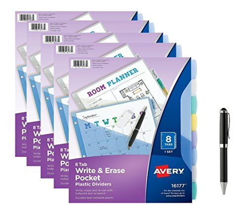 - Avery 16177 Write & Erase Big Tab Plastic Dividers w/ Slash Pocket, 8-Tab, Letter, Sold as a 5-pack, 40 Tabs TOTAL