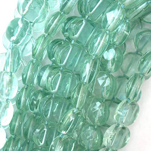 (manda_gi 1 Pc 16mm Faceted Blue Aquamarine Quartz Flat Oval Beads 15.5