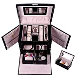 """Queentools Jewelry Box with Lock and Mirror (10.43 x 7.84 x 8.85"""") Jewelry Display Box Lockable Travel Jewelry Organizer for Women, Color Black"""