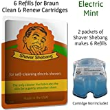 6 Refills for Braun Clean & Renew Cartridges - Electric Mint - Cleaner Solution for all Braun Self Cleaning Razors