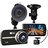 Samjat Dual Lens Dash Cam front and rear recording, 4.0 IPS Screen,HD 1080P Car Dash Camera, Rearview Backup Camera,170 Degree Wide Angle, WDR, Loop Recording, G-sensor, Parking monitor
