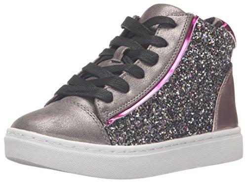 Steve Madden Girls' Jmixalot Sneaker, Pewter/Multi, 5 M US Big Kid