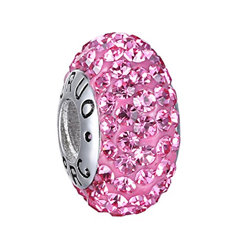 UPC 687927551244, Boruo Charms 925 Sterling Silver Czech Crystal Pink Glass Ball Beads Spacers Threaded Core Charm Fit Pandora Bracelets.