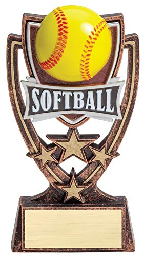 Express Medals 6 Inch 4 Star Softball Trophy Award with Engraved Personalized Plate 1-Pack ()