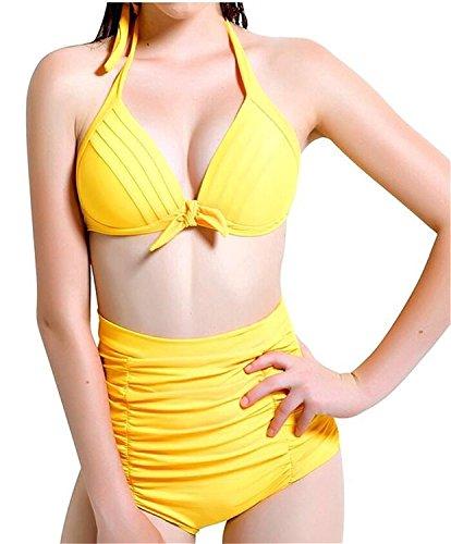Dance Costumes Makers Uk (rewg542wv Pretty Women Retro Polka Dots Vintage High Waisted Swimsuit Swimwear Bikini Sets Pattern 12XX-Large)