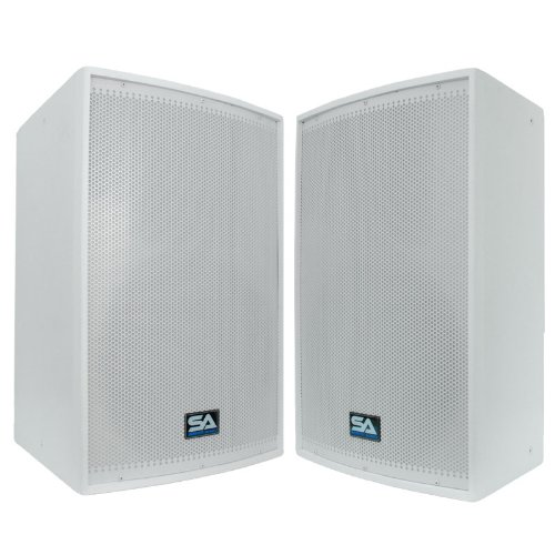 Seismic Audio - Pair of 15'' White Church PA/DJ Speakers - White Textured Painted - Flyware for hanging - Monitors - Pole Mountable by Seismic Audio