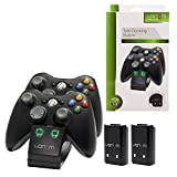 Commart Venom Xbox 360 Twin Dock Controller Charging Station & Battery Packs Ship From USA