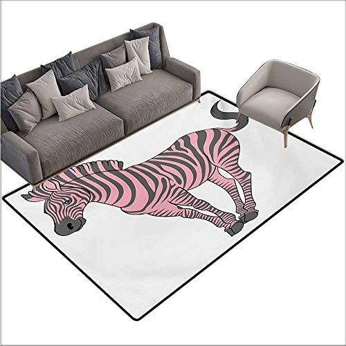 Rug Baby Betty Boop - Girl Bedroom Rug Pink Zebra Naturalistic Baby Zebra in Funny Pose Zoo Wild Horse Kids Childish Theme Durable W70 xL106 Pale Pink Dimgrey