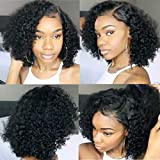 Full Lace Wig Human Hair Short Bob Wigs for Black Women 8A Virgin Brazilian Curly Short Full Lace Front Human Hair Wigs (10inch with 150% density, full lace wig)