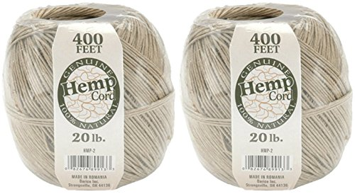 One Package of 400 feet 100% Natural Hemp Cord #20 (Set Of 2, Brown)