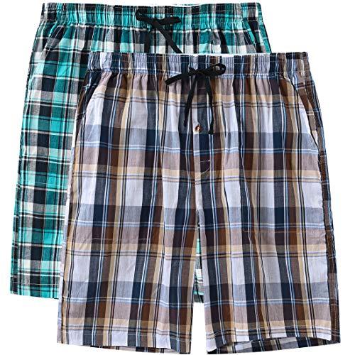 - JINSHI Men's 2 Pack Elastic Sleep Pajama Shorts Soft Drawstring Sleep Pajama Shorts(XL,Brown Plaid/Green Plaid)