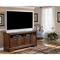 Ashley Furniture Signature Design - Hamlyn TV Stand - 60in with 2 Cabinets and 2 Storage Cubbies - New Traditions - Dark Brown