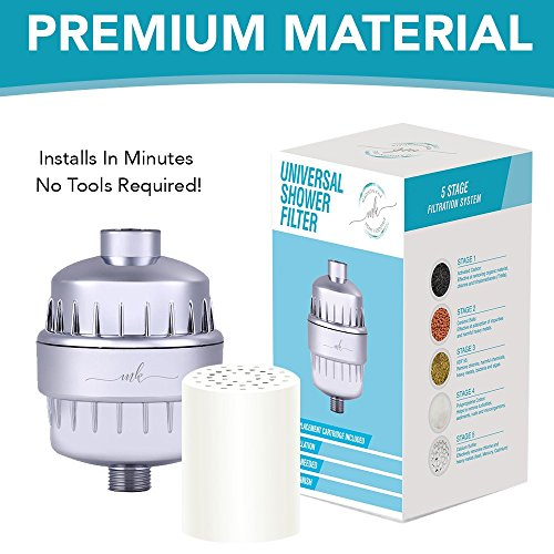 Universal Shower Filter and Water Softner - High Output Shower Water Filter, Hard Water Treatment, Chlorine & Other Harsh Chemicals - Includes Replaceable Multi-Stage Filter Cartridge - Chrome (Metal Water Treatment)
