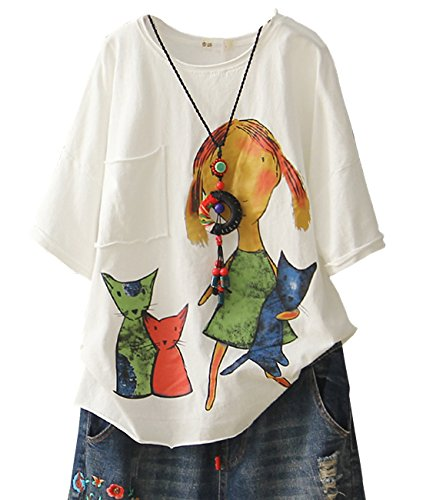 YESNO E78 Women Casual Loose Tee T-Shirts Tops Cartoon Printed Rolled Hem Ripped Short Sleeve Pocket (XL, White)
