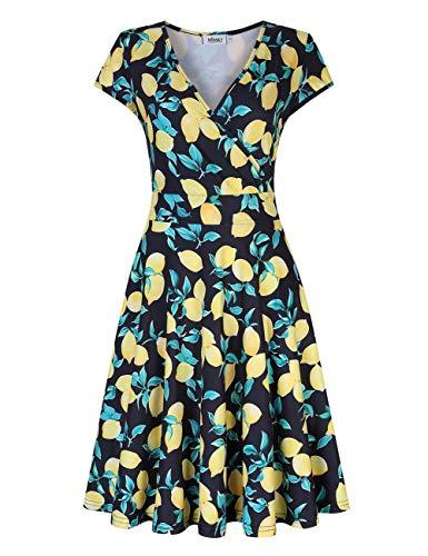 MISSKY Women's Deep V Neck Short Sleeve Knee Length Unique Cross Wrap Casual Flared Midi Dress (S, -