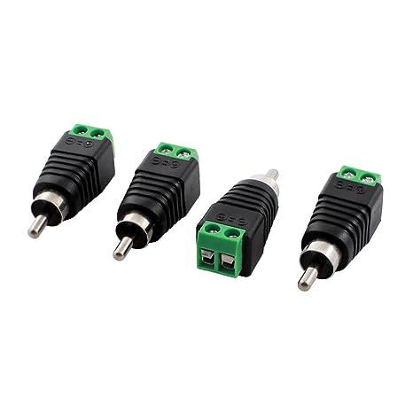4 Piezas RCA enchufe macho a AV Conector Del Terminal De Tornillo CCTV Balun