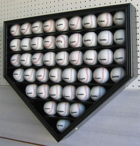 - 46 Baseball Display Case Wall Cabinet Holder Shadow Box, UV protection (Black Finish)
