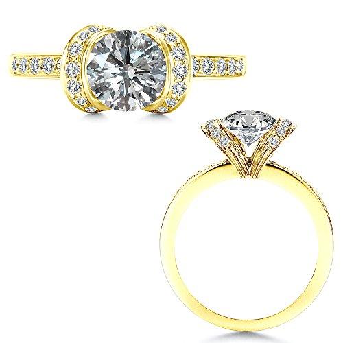 1 Carat Diamond Ribbon Engagement Solitare Halo Lovely Promise Ring 14K Yellow (Diamond 14k Gold Ribbon)