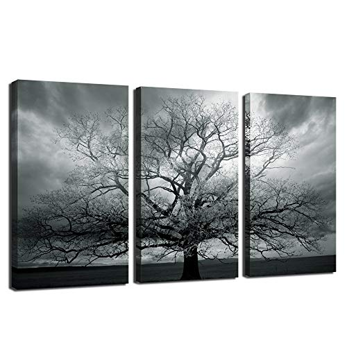 - sechars - Tree Canvas Wall Art Winter Large Lonely Tree Landscape Picture Photography Print on Canvas Modern Living Room Wall Paintings Gray Wall Decor Stretched and Framed Ready to Hang