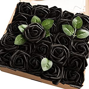 Ling's moment Artificial Flowers 25pcs Real Looking Black Fake Roses w/Stem for DIY Wedding Bouquets Centerpieces Bridal Shower Party Home Decorations 16
