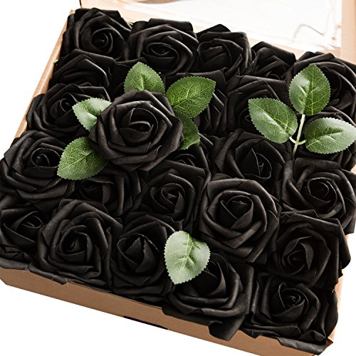 Ling's moment Artificial Flowers Black Roses 25pcs Real Looking Fake Roses w/Stem for DIY Wedding Bouquets Centerpieces Arrangements Party Home Halloween Decorations
