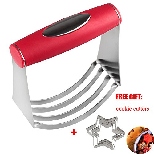 (Pastry Dough Blender Kitchen Tools CutterPizza Vegetable Mixer Cut Mushrooms Spinach for Salad With Heavy Duty Stainless Steel Blades Free Gift Cookie Cutters)
